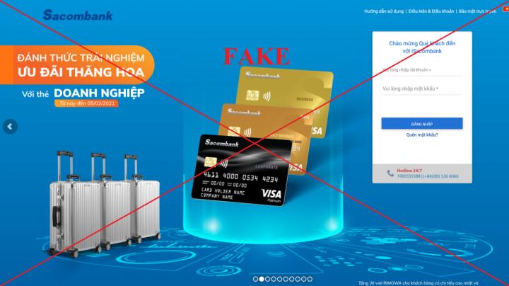 Sacombank cảnh báo hình thức giả mạo website để lừa đảo khách hàng