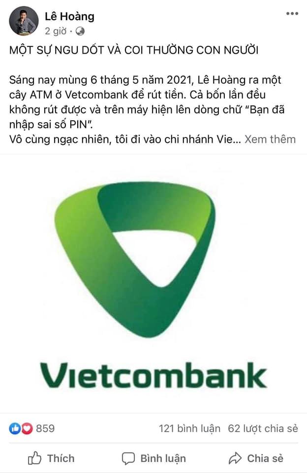 Đạo diễn Lê Hoàng bức xúc cách làm việc của ngân hàng Vietcombank