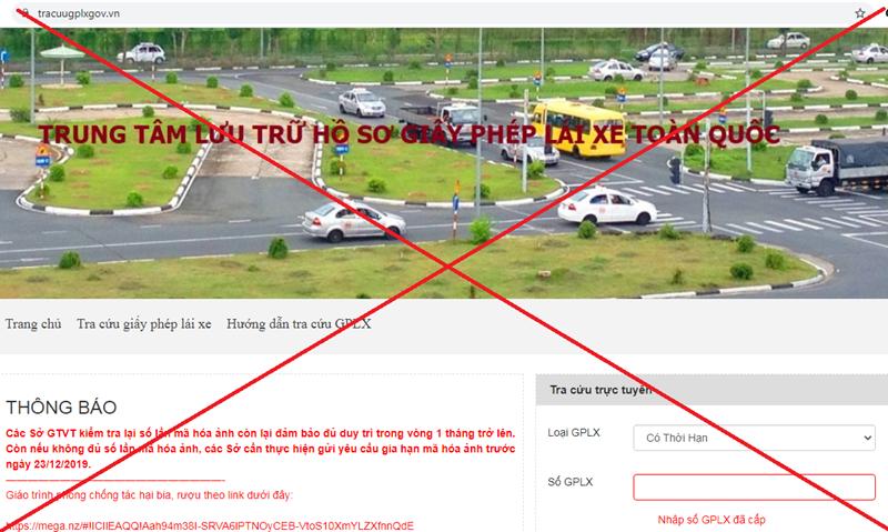 Cảnh báo Website tracuugplxgov vn giả mạo trang thông tin điện tử Giấy phép lái xe