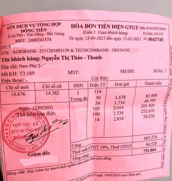 """Bắc Giang Tiền điện từ vài trăm nghìn mỗi tháng bỗng """"nhảy"""" lên 3 triệu đồng, người dân choáng váng khi hóa đơn chênh hơn 600 số"""